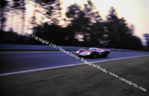 Ferrari 312P  Rodriguez/Piper. photo.  Mulsanne at dusk. Le Mans 1969